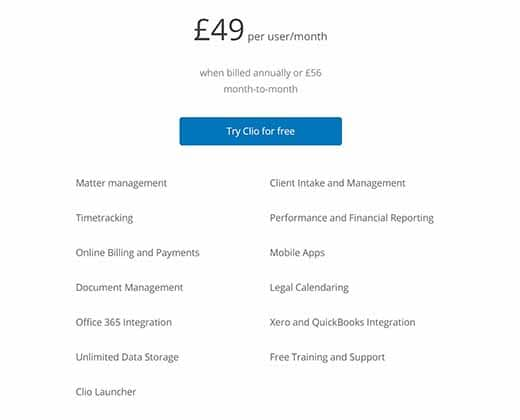 Clio Pricing for United Kingdom