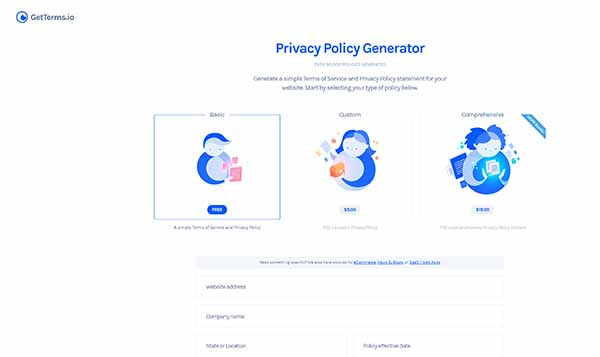 GetTerms.io's Privacy Policy Generator