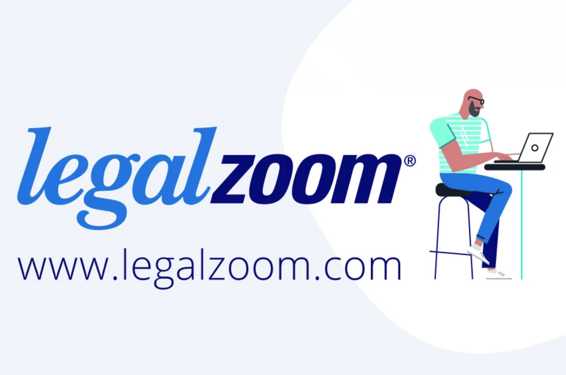 legal zoom icon with man at desk