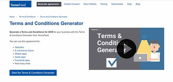 Termsfeed Terms and Conditions generator screenshot