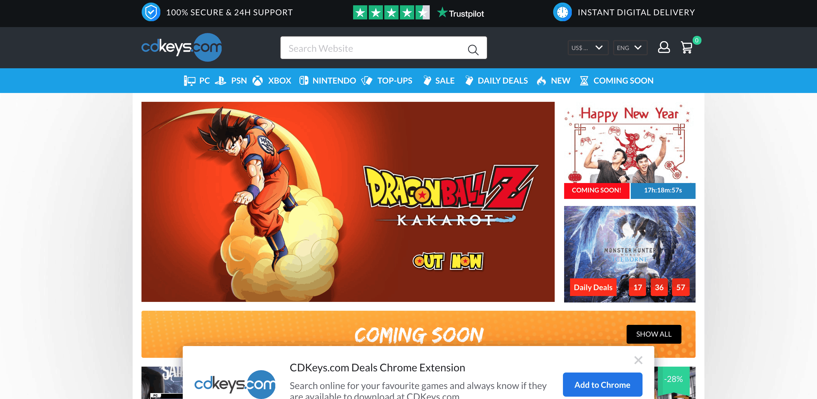 CDkeys homepage featuring Dragon Ball Z