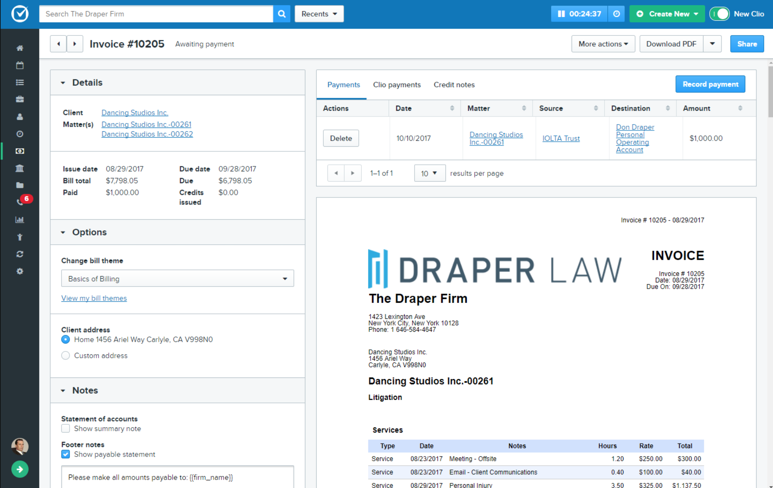 clio workflow of draper law firm