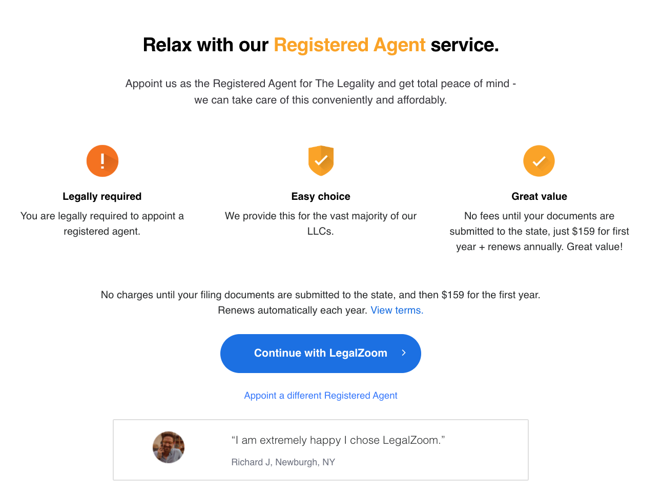 select a registered agent