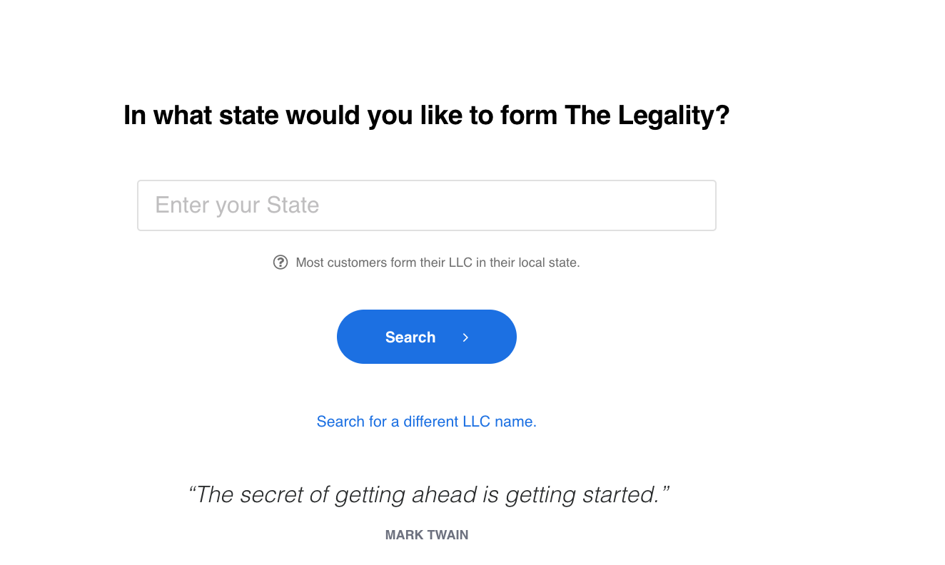 select state form legal zoom