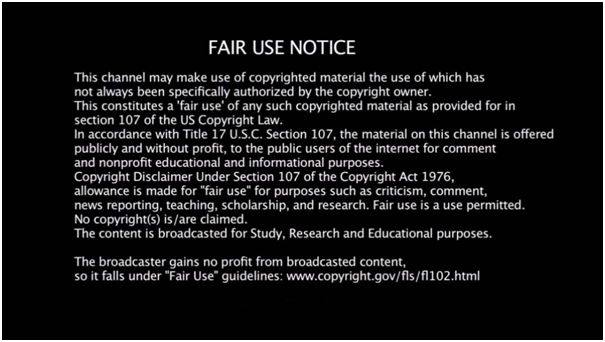 Fair Use Notice Example