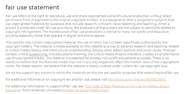 Fair Use Statement Example