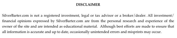 Investment Disclaimer Example