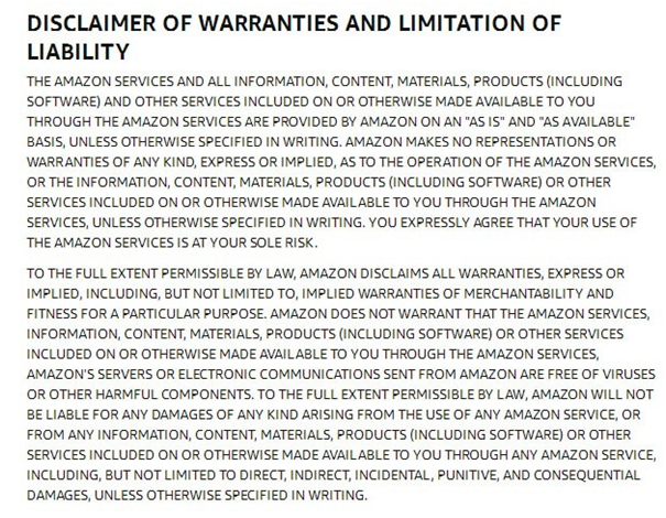 Warranty Disclaimer Example