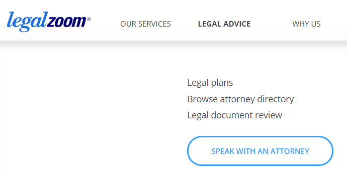 LegalZoom Legal advice page
