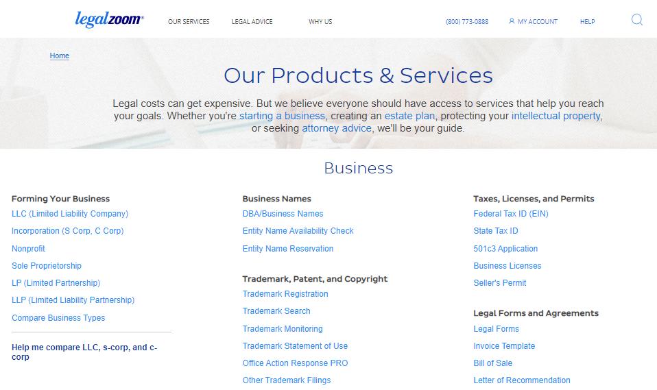 LegalZoom web screen capture