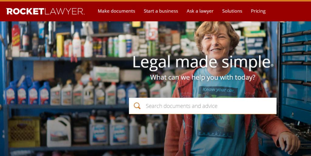 RocketLawyer homepage